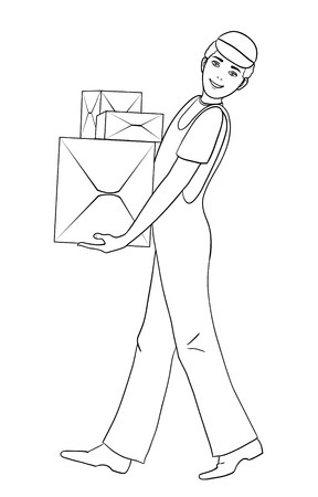 carries: Boy in uniform carries cardboard boxes, vector image, outline isolated on white