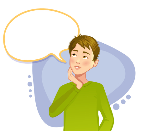 hesitation: Thinking boy with speech bubble, vector image