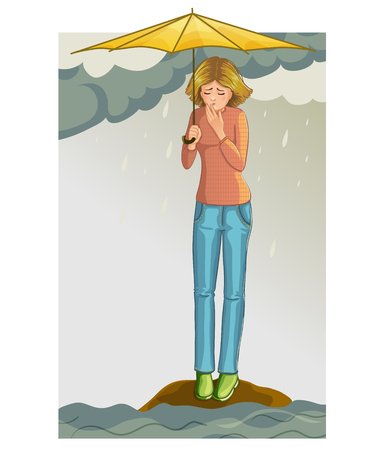 suffers: Girl who suffers from flood