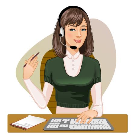 servicio al cliente: Niña de un operador de llamada en un teclado y con la pluma en la mano, imagen vectorial