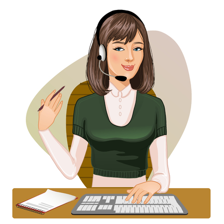 customer service: Young girl a call operator at a keyboard and with pen in one hand, vector image Illustration