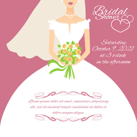 Invitation card with a young bride holding flowers, vector image Illustration