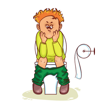 stomach pain: Ill little man with stomach issues sit on lavatory in toilet, vector image