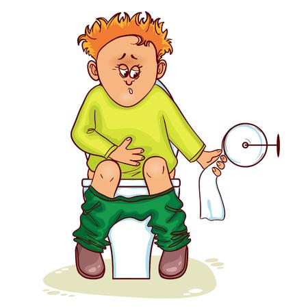 Zieke kleine man met maag problemen zitten op toilet in toilet, vector afbeelding Stock Illustratie