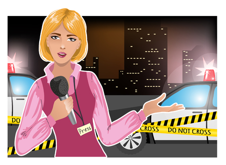 crime scene tape: Pretty young woman reports news about accident, eps10
