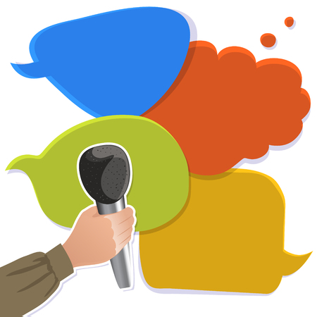 opinion poll: Hand with microphone on the colorful speech bubbles, conceptual vector image, eps10
