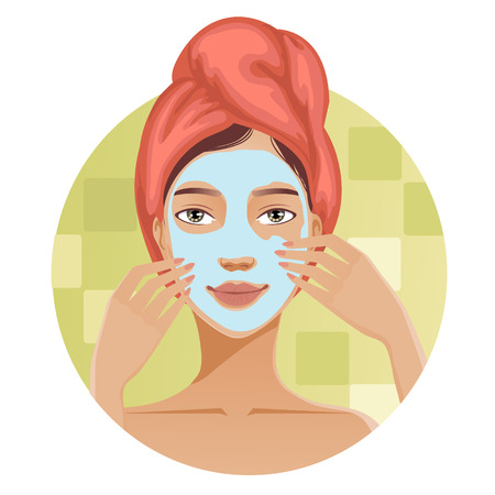 soften: Young woman with a towel around her head puts a mask on her face, vector image, eps10