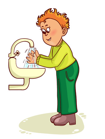 funny people: Little man washes his hands, vector image