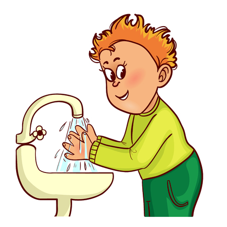 wash face: Little man washes his hands, vector image