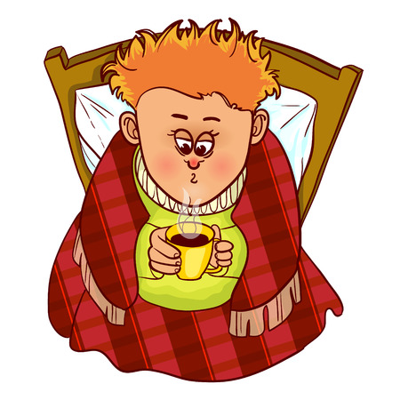 sore throat: Little muffled freezing man drinks hot drink in bed, vector image, eps10 Illustration