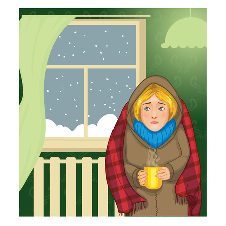 cold: Young muffled woman with cup of hot drink standing in the cold apartment near  window, vector image, eps10