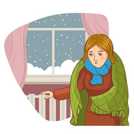 Jonge gedempte vrouw die zich in de kou appartement in de buurt raam en het controleren van koude radiator, vector afbeelding, eps10