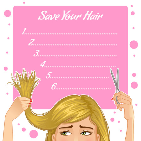 Stylish background for your text with girl who has problem of split ends, vector image, eps10