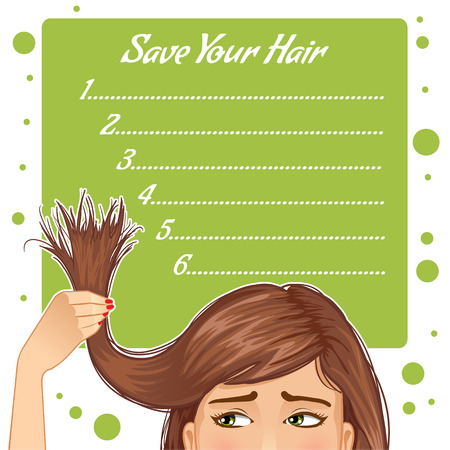 disheveled: Stylish background for your text with girl who has problem of split ends, vector image, eps10