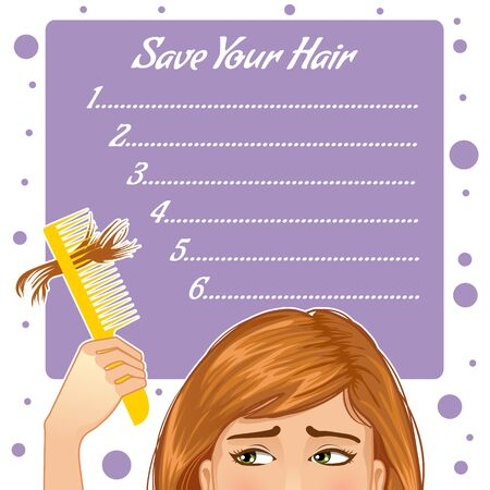 disheveled: Stylish background for your text with girl who has hair fall, vector image, eps10 Illustration