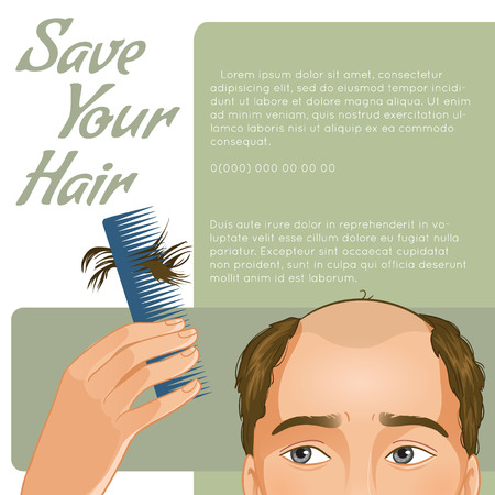 fall fashion: Stylish background for your text with man who has hair fall, vector image, eps10