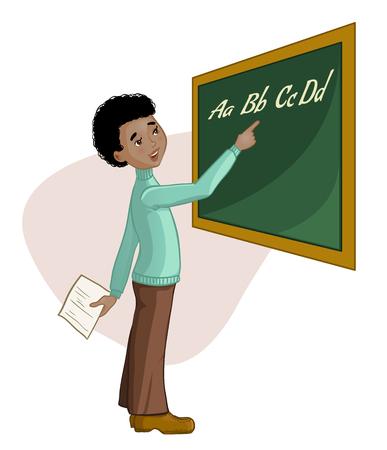schoolboy: African american schoolboy at blackboard, vector image