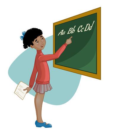 African american schoolgirl at blackboard, vector image