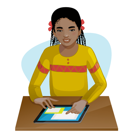 african cartoon: African american girl working or playing with digital tablet Illustration