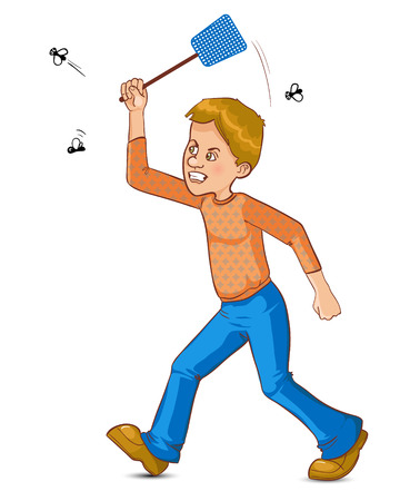 mosca caricatura: Hombre de la historieta trata de atrapar volar con matamoscas, imagen vectorial, eps10