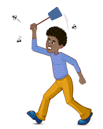 Cartoon african american man tries to catch fly with flyswatter, vector image, eps10