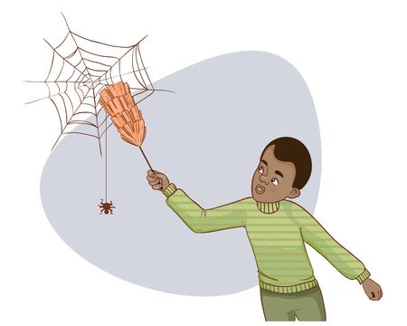 spider  net: Cartoon african american man tries to remove spider net, vector image, eps10 Illustration
