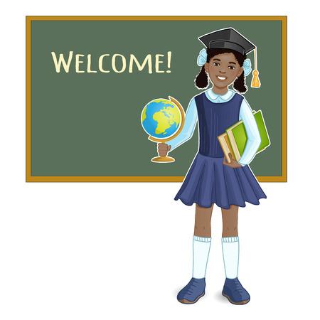 schoolgirl in uniform: African american schoolgirl with globe and books at blackboard, eps10