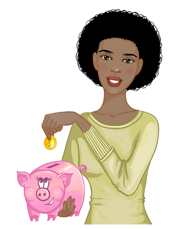 Beautiful african american woman putting coin in cute piggy bank, eps10