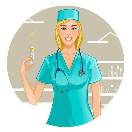 emergency room: Nurse with syringe, eps10