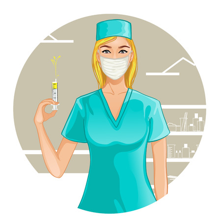 nurse uniform: Nurse with syringe, eps10