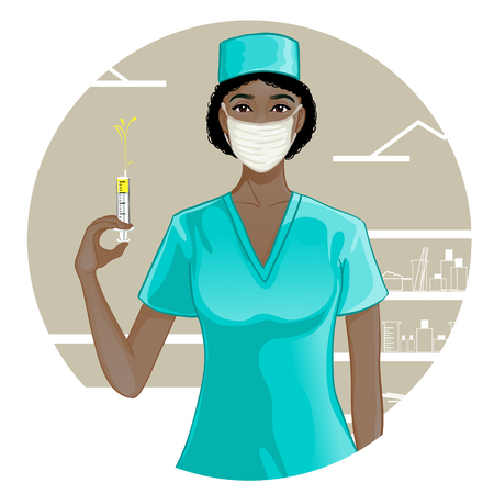 squirt: African american nurse with syringe, eps10