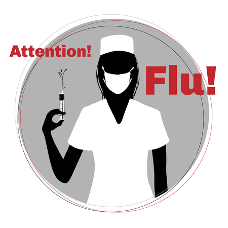 grippe: Silhouette of nurse with syringe and with mask warning about epidemic of flu, vector image