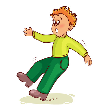 slips: Little man slips on slippery floor and falls down, vector image