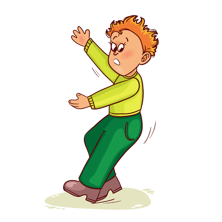 slips: Little man slips on slippery floor and falls down, vector image