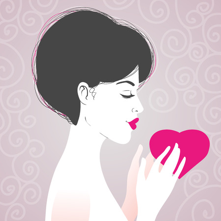 young girl nude: Beautiful woman with heart, symbol of love, in hands on background, vector image, eps10