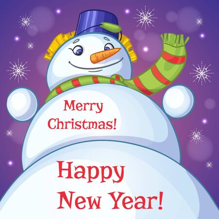 greetings card: Christmas card with snowman and holiday greetings