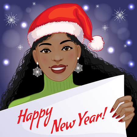 vector girl: Cute African American girl with New Year greetings, vector image, eps10