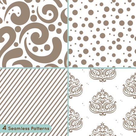 Vector set of seamless pattern: circles, lines, swirls, ornament
