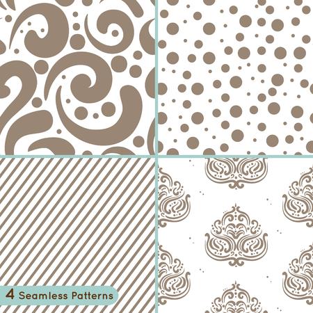 Vector set van naadloze patroon: cirkels, lijnen, wervelingen, ornament