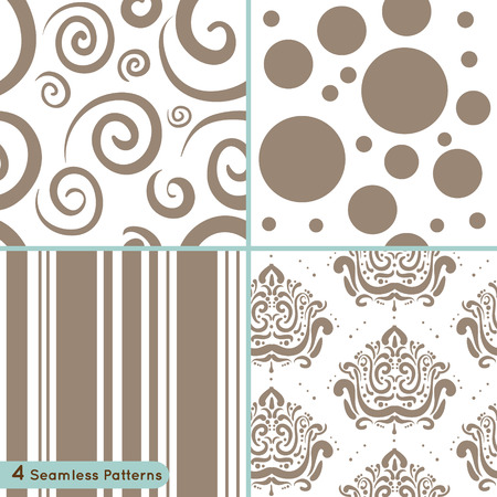 circles pattern: Vector set of seamless pattern: circles, lines, swirls, ornament