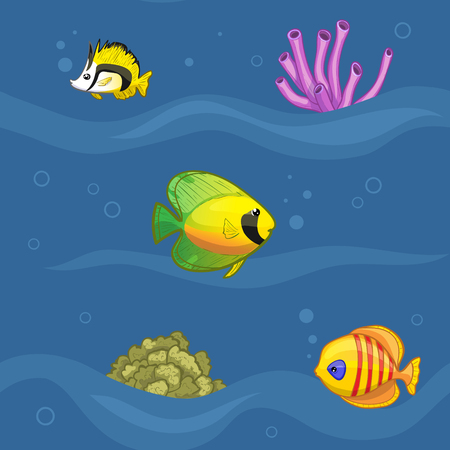 bottom of sea: Seamless pattern with colorful tropical fishes in underwater world, vector image, eps10