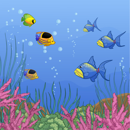 butterflyfish: Underwater world with coral reefs and colorful tropical fishes, vector image, eps10 Illustration