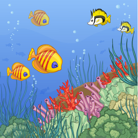 seawater: Underwater world with coral reefs and colorful tropical fishes, vector image, eps10 Illustration