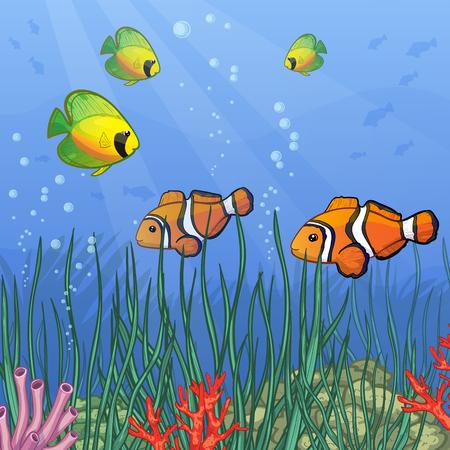 algas marinas: Mundo subacuático con los arrecifes de coral y peces tropicales de colores, imagen vectorial, eps10