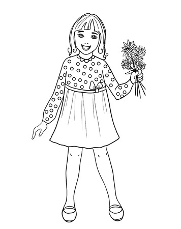 fullbody: Teenager cartoon girl with flowers in hand, outline isolated on white