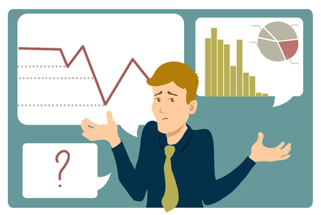 uncertain: Uncertain businessman shrugs shoulders, on the background with charts, vector image