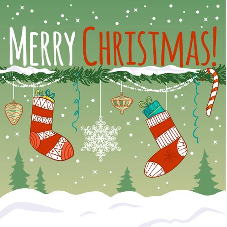 cor: Greeting card with Christmas decoration, gifts in socks on the background with snow and trees, vector image