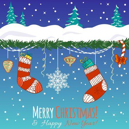 christmas greeting card: Greeting card with Christmas decoration Illustration