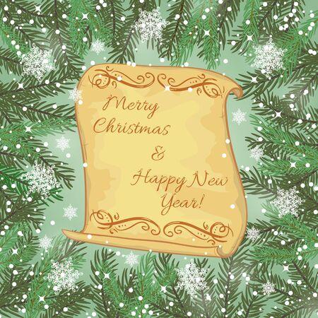 fake christmas tree: Greeting card with Christmas tree and snowflakes