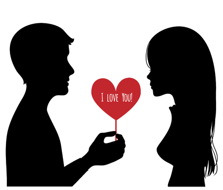 relationships: Black silhouette of young couple. Man presents a heart to woman. Vector image